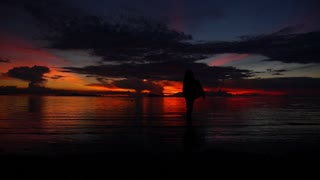 Silhouette of a Girl Walking on a Tropical Beach under the Impressive Sky at Sunset. Slow Motion
