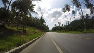 Speed Driving on Road in Tropical Jungle of Island. Time Lapse.