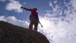 Summer Freedom Joyful Woman Raising Arms to Sky
