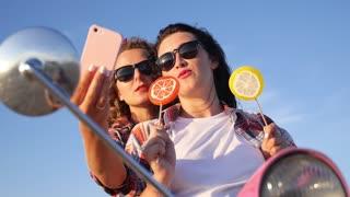 Summer Girls Taking Selfie Portrait Outdoors