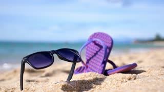 Summer Vacation - Flipflops on Sandy Ocean Beach