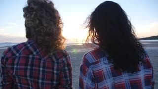 Summer Vacation, Holidays, Travel, Friendship - Girls at Sunset