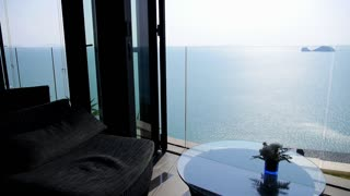 Terrace Lounge with Seaview in Luxury Resort. Summer Holiday Concept