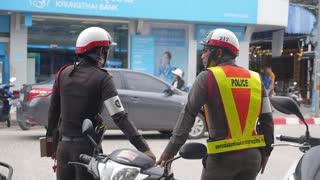 Thai Road Traffic Police Officers on Street