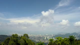Top View of City on Island - Nature Seascape Timelapse