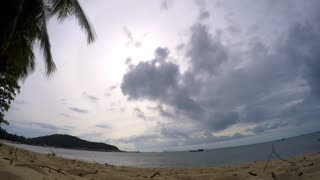 Tropical Beach of Island with Palm Tree and Cloudy Sky. Timelapse.