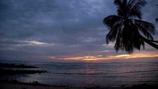 Tropical Sunset over the Sea on the Beach. Time Lapse.