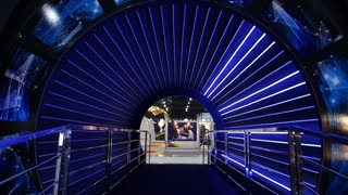Tunnel with Blue Illumination on Exhibition of Science and Technology