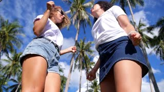 Two Young Hipster Girl Friends Having Fun