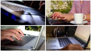 Typing on Laptop Keyboard - Montage