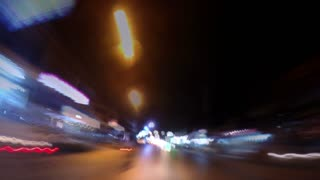 Urban Traffic Light Trails of Road Transport at Night. Timelapse.