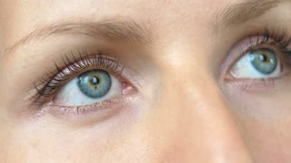 Beautiful Blue Woman Eyes with Long Lashes Looking