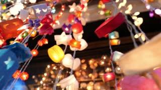 Closeup Of Hanging Christmas Garland Lights