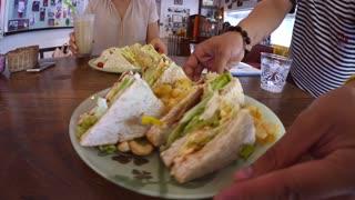 Closeup Of Vegan Sandwich In Healthy Restaurant