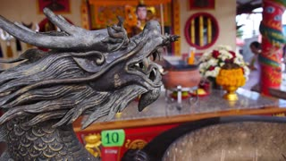Closeup on Dragon Statue in Chinese Temple