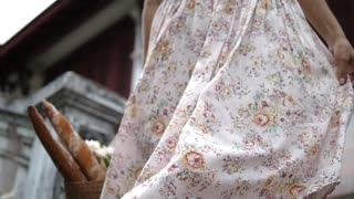 Elegant Provence Style Woman With Baguette Wearing Floral Skirt