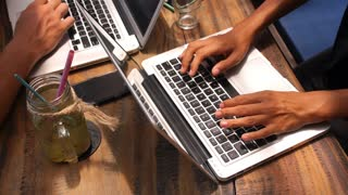 Freelancer People Using Laptop Computer in Coworking Cafe
