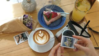 Hipster Stylish Flat Lay With Hands, Coffee, Vintage Polaroid, Cake