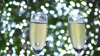 Holiday Celebration With Champagne Glasses