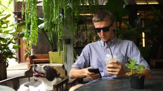 Man Using Phone Sitting In Pet-Friendly Cafe With Dog And Iced Coffee