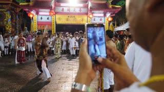 Men Self Harming with Axe on Vegetarian Festival in Chinese Shrine