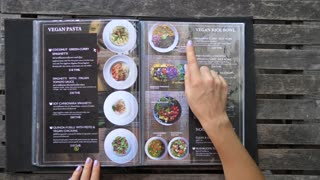 Menu In Healthy Vegan Restaurant. Vegan Pasta And Rice Bowl.
