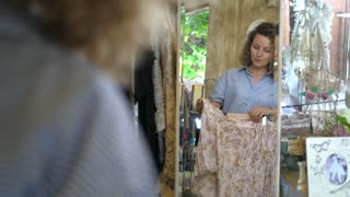 Shopping Happy Woman Choosing Clothes Looking In Mirror