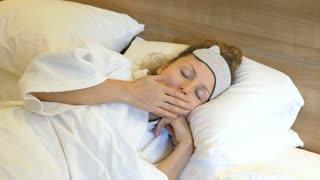 Yawning Woman Fall Asleep in Bed