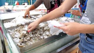 Woman Picking Fresh Shrimp at Market for Sell