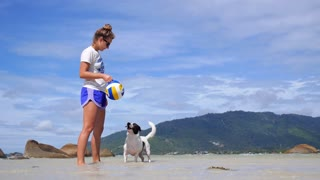 Woman Throwing Ball to Puppy Dog in Sea at Beach