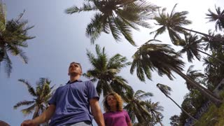 Young Couple Walking under Palm Trees. Slow Motion.