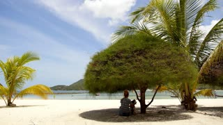 Young Woman Resting at Beach with Dog under Tree.