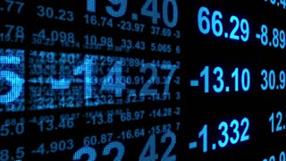 3D Stock Market Profit Loss Results Display on Led Screen with BlueText Version 3 Seamless Loop Full HD