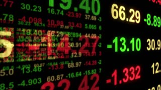 3D Stock Market Profit Loss Results Display on Led Screen with Red Green Text Version 3 Seamless Loop Full HD
