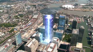 Alien Flying Saucer Attacking a Building in London England Great Britain UK Full HD