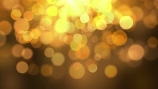 Beautiful Golden Orange  Blurred Bokeh Glowing Particles Motion Background Full HD