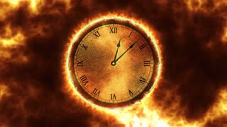 Burning Clock With Roman Numerals with Fire in the Background Seamless Loop 4K Ultra HD