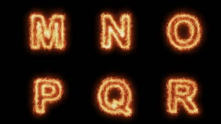 Burning Letters From M to R , Letters on Fire 6 in 1 , Ultra HD 4K