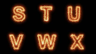 Burning Letters From S to X , Letters on Fire 6 in 1 , Ultra HD 4K