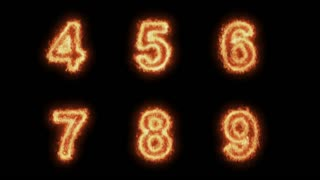 Burning Letters / numbers From 4 to 9 , Letters on Fire 6 in 1 , Ultra HD 4K