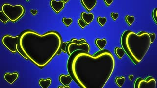 Color Changing Funky Hearts with Colorful Glowing Stripes Flying in 3D Space Seamless Looping Motion Background Full HD