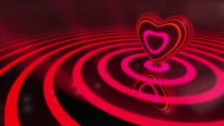 Color Changing Shiny Funky Heart With Glowing Stripes | Seamless Loop | Motion Background | Full HD 1920x1080