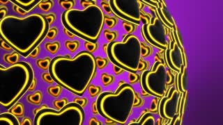 3D Hearts with Bright Colorful Stripes Spinning in Sphere Formation Motion Background Seamless Looping Purple Violet Yellow Orange