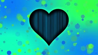 Romantic Sweet Colorful Heart Particles Looping 4K Ultra HD Motion Background Blue Cyan Green Turquoise Cool