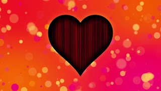 Romantic Sweet Colorful Heart Particles Looping 4K Ultra HD Motion Background Orange Red Pink Yellow Warm