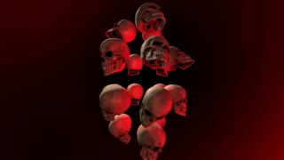 Tower of Creepy Dark Skulls Floating in a Dark Tunnel with Red Light Seamless Looped Motion Background