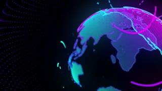 Digital Virtual Earth Simulation Hologram 4K and Full HD Blue Green
