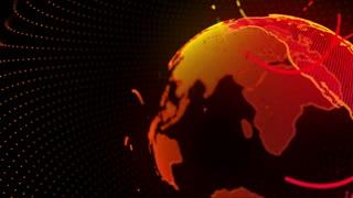 Digital Virtual Earth Simulation Hologram 4K and Full HD Orange Red Yellow