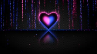 Elegant Glowing Heart with Streaks of Light Particles Seamless Loop Multicolor Version Blue Pink