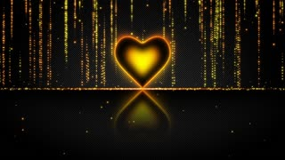 Elegant Glowing Heart with Streaks of Light Particles Seamless Loop Multicolor Version Orange Yellow